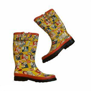Henry Ferrera Pop Art Cartoon Calf Rain Boots 8